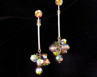 Aurora Borealis Dangle Earrings Clip On Style Designer Vintage