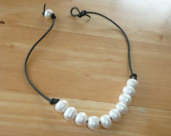 Pearl & Leather Handcrafted Necklace