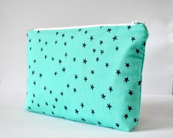 Women's aqua navy blue star constellation print padded beauty bag cosmetics travel makeup pouch in aqua green XL extra large size.