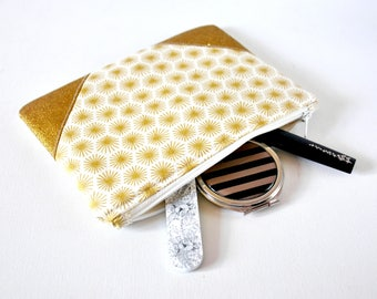 Women's retro starburst 50s inspired metallic gold glitter print padded beauty pouch protective cream and gold make up bag cosmetics pouch.