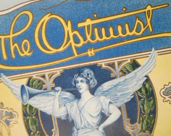 The Optimist Outer Box Cigar Label Lithograph Angel Winged Victory Nike H. F. Fidler Company