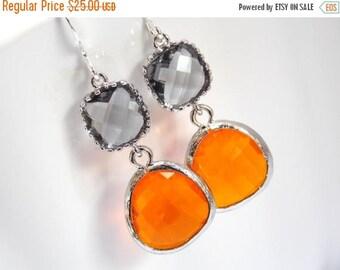 SALE Glass Earrings, Orange Earrings, Gray Earrings, Grey Earrings, Tangerine, Silver Earrings, Weddings, Bridesmaid Earrings, Bridesmaid Gi
