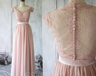 2017 Blush Chiffon Lace Bridesmaid Dress, Cap Sleeve Wedding Dress, Party Dress, Long Formal Dress Floor Length (F120A)-Renzrags
