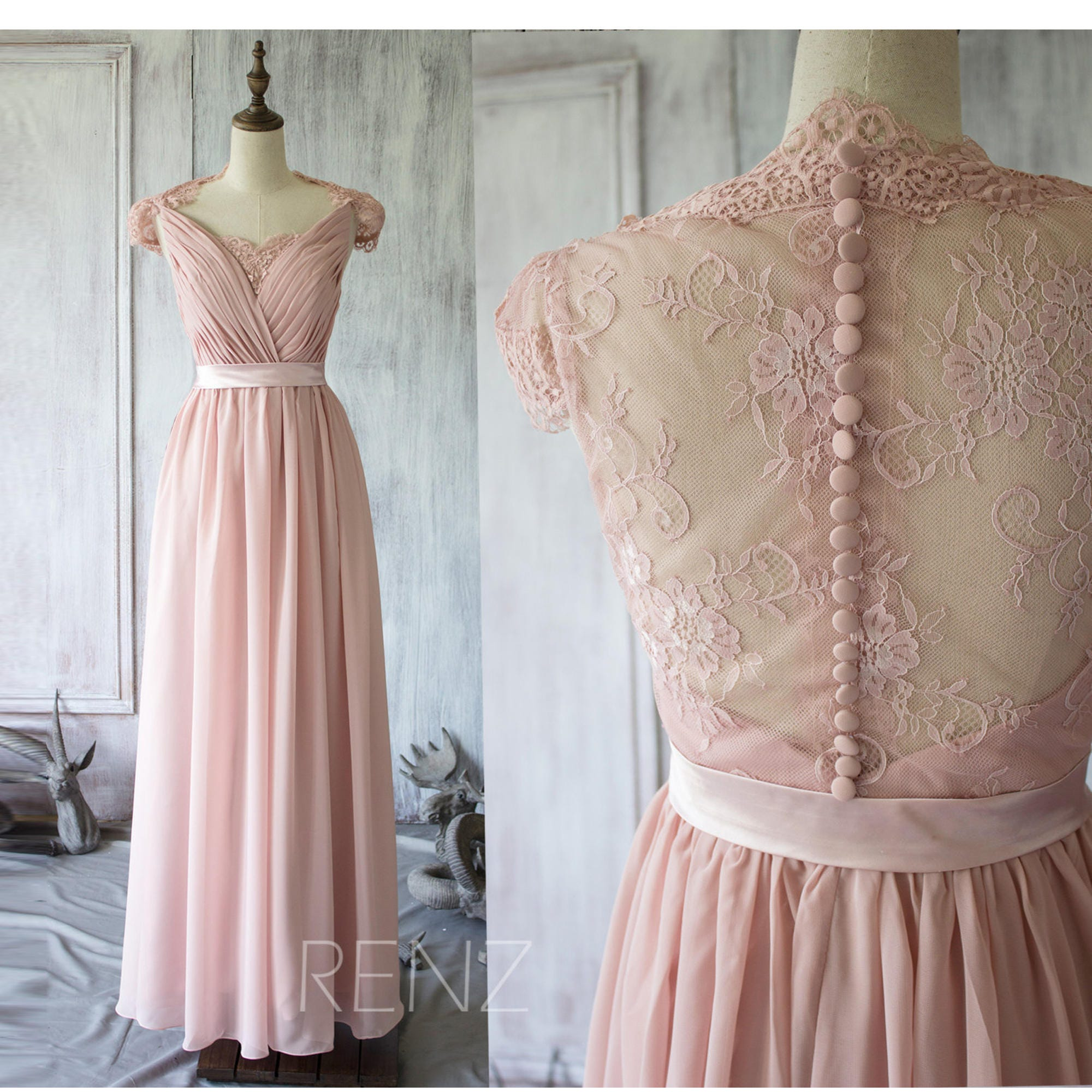 Blush chiffon lace bridesmaid dress cap sleeve wedding dress zoom ombrellifo Images