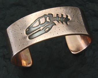 Raptor Dinosaur Skull, Copper Cuff