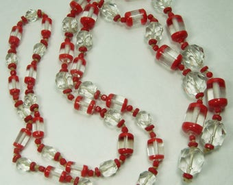 1920s Art Deco Lariat Necklace Red Clear Cased Glass Hand Knotted 35 Inches Faceted Beads