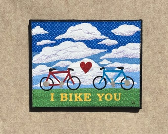 I Bike You , 11x14 inches, original sewn fabric artwork, handmade, freehand appliqué, ready to hang canvas