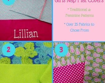 Girls Nap Mat Cover Sets - Traditional & Feminine Fabrics Nap Mat Cover and Matching Envelope Back Pillow Case - Polka Dots - Pears