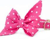 Crew LaLa ™ Hot Pink Polka Dot Belle Bow Dog Collar
