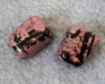 Rhodonite Set of 2 Tumbled Stones Crystals Minerals (CRYT-RH-M)