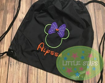 Personalized Embroidered Mickey or Minnie  Halloween design Cinch Drawstring Bags