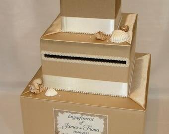 Beach theme Gold and Ivory Wedding Card Box- Sea Shells, Starfish