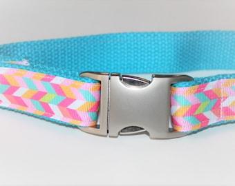 Turquoise Dog Collar Matching Leash Optional PHONE and NAME ADD