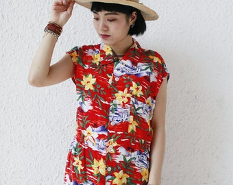 Ladies Remade Hawaiian Shirt