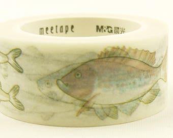 Oceanic fish - Japanese Washi Masking Tape - 20mm wide - 11 Yard
