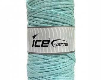 Light Mint Green Melange T-shirt Yarn - 5 yards - Fabric Selvedge - Tricolette