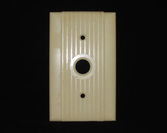Vintage Ivory Bakelite Push Button Switchplate Cover