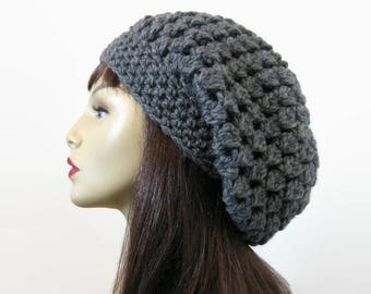 Charcoal Slouchy Hat Slouch Beanie Gray Crochet Slouchy Hat  Dark Gray Beret Dark Gray Slouch Cap Gray Beanie Crochet Tam Slouch Gray Cap