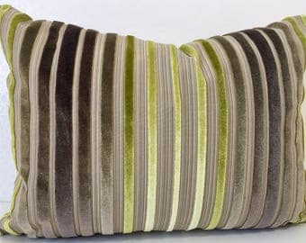 Mocha and Apple Green stripe chenille velvet LUMBER cushion cover in Zoffany ROSSINI fabric linen &Lime. Rectangle cushion by MoGirl DESIGNS