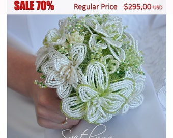 big Summer SALE 70% !!! French Beaded Wedding Bouquet white with cream and green colors. (ready to ship)