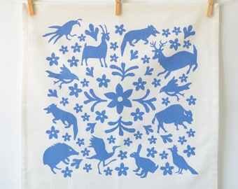 Cotton Napkin: Buffalo and Friends, Steel Blue