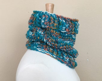 Chunky Cowl Scarf Turquoise