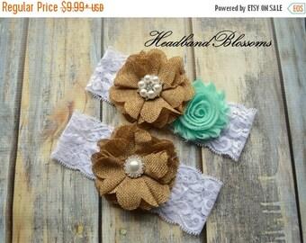 SALE SEAFOAM GREEN Bridal Garter Set - White Keepsake & Toss Wedding Garters - Burlap Flower Lace Garters - Country Wedding - Rustic Wedding