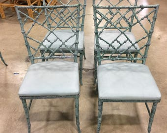 CALL For PHYLLIS MORRIS / Set Of 4 Stunning Phyllis Morris Cast Aluminum Chinese Chippendale Faux Bamboo Patio Chairs