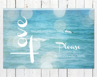 Inspirational Wall Art | Inspirational Quote Print | Ocean Photography | Turquoise | Typography Art Print | Word Art Print | Joy Peace Love