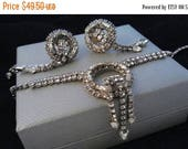 ON SALE Vintage Statement Jewelry - Rhinestone Necklace & Dangle Screw On Earrings- 1950's 1960's Demi Parure - Wedding Bridal