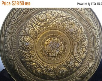 On Sale Large Gold Ornate Flower Designed Tin - Mid Century Home Decor Collectible - Organization Storage Solution