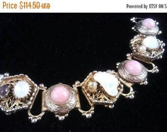 Now On Sale Vintage Rhinestone Bracelet, Pink White Chunky Wide, High End Hard To Find Rare Designer Jewelry