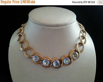 Now On Sale Vintage heavy Couture rhinestone necklace blue Stones