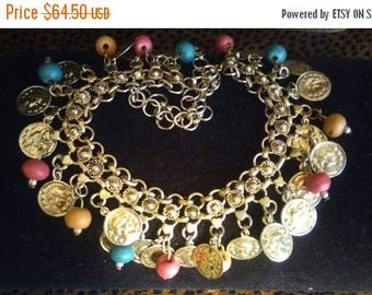 Now On Sale Vintage Coin Bib Necklace 1960's 1970's Collectible Vintage Statement Runway Jewelry