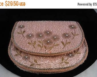 On Sale 1940's Pink & Silver Flowered Coin Purse* Beaded Antique Evening Bag * 1940's 1950's Collectible Purse * Vintage Gift For Her