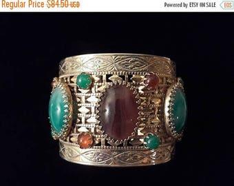 ON SALE Big Chunky Stone Cuff Bracelet, 70's Collectible Wide Statement Rare Jeweled Jewelry