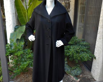 Vintage 1950's Black Wool Swing Coat - Size M/L