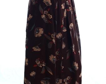 Vintage 70s Granderath Beige Brown Floral Flared Tea Skirt UK 14 US 12