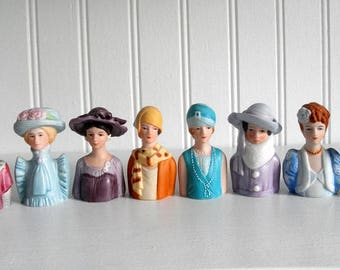 Avon Lady Thimbles American Fashion Collection Vintage Bust Miniature Hand Painted Porcelain Thimble Victorian Ladies 20s 30s 40s