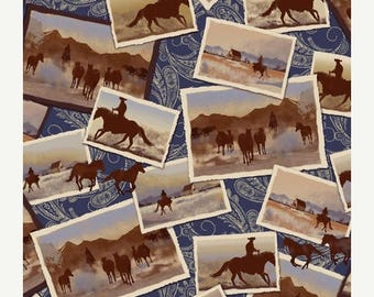 20 % off thru 7/4 RANCH HANDS western COWBOYS  on postcard cotton print by the yard Windham Cotton Fabric 42579-1