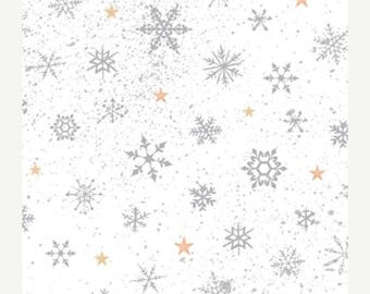 12% off thru July WOODLAND WONDER-by the half Yard by QT fabrics-grey silver snowflakes gold stars on white~24525-zk-Christmas