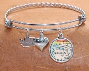 South Bend WA Map Charm Bracelet State of Washington Bangle Cuff Bracelet Vintage Map Jewelry Stainless Steel Bracelet