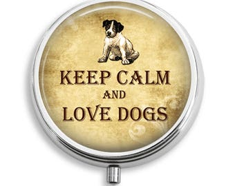 Pill Box Pill Case Keep Calm and Love Dogs Pill Holder Pill Container Trinket Box Vitamin Holder Medicine Box