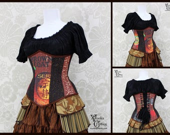 Firefly Steampunk Renaissance Serenity Brown, Black, & Rust Steel Boned Corset - You Choose Your Corset Style - Custom Sized