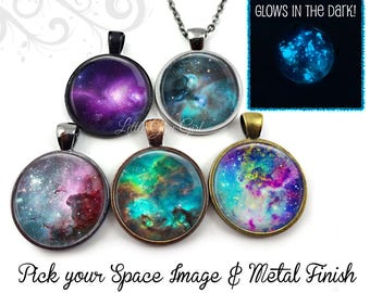 Glow in the Dark Galaxy Necklace - Nebula Necklace Galaxy Pendant - 23 Space Images Available - Glowing Stars Necklace Glowing Galaxy Charm