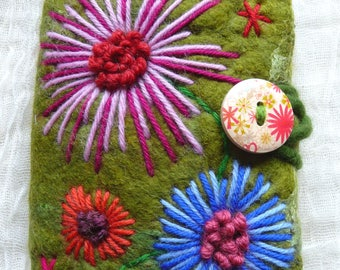 notebook cover , sketchbook, nuno felted, journal, A6, eco friendly, handcrafted, felted flowers, books, embroidery