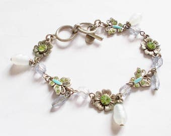 Vintage Silver-tone Crystal Butterfly and Flowers Bracelet