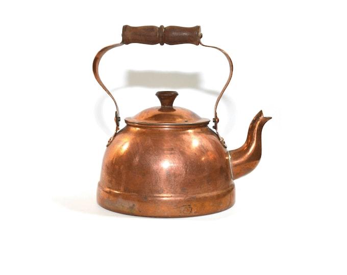 Featured listing image: Vintage Copper Kettle Copper Tea Kettle Copper Tea Pot Copper Coffee Pot Farmhouse Decor Farmhouse Kettle