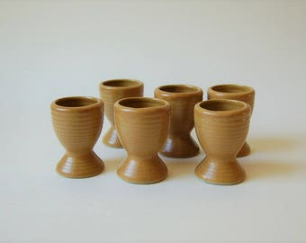 Vintage Stoneware Egg Cup Set of 6