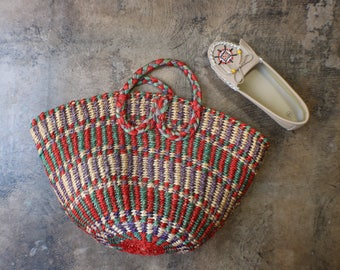 Woven Market Bag / Vintage Sisal Bag / Summer Short Handle Tote